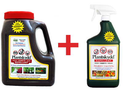 Plantskydd combo pack of 3 lb granular and 1 qt ready to use liquid