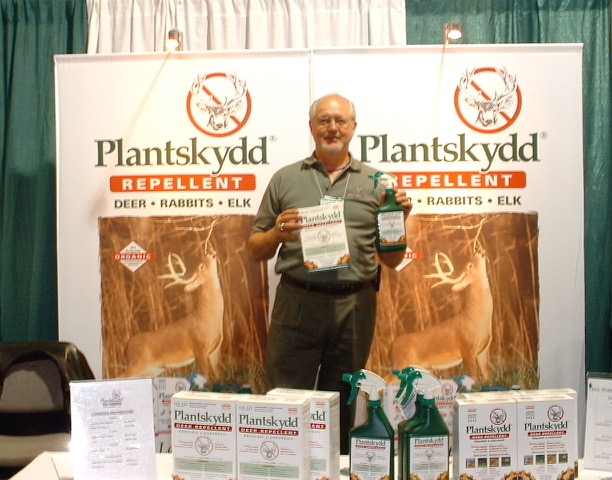 Tree World president Claude Boisvert at 2006 tradeshow with Plantskydd Animal Repellents